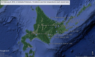 On February 9, 2019, in Hokkaido Prefecture, 10 stations saw their temperatures reach record lows.jpg
